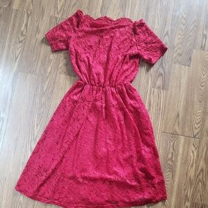Off the shoulder red lace dress